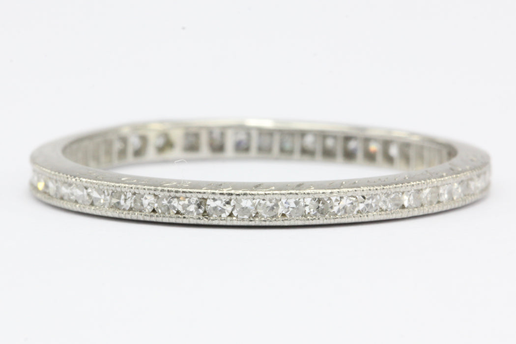 Art Deco Platinum Single Cut Diamond Eternity Band Size 6.75 - Queen May