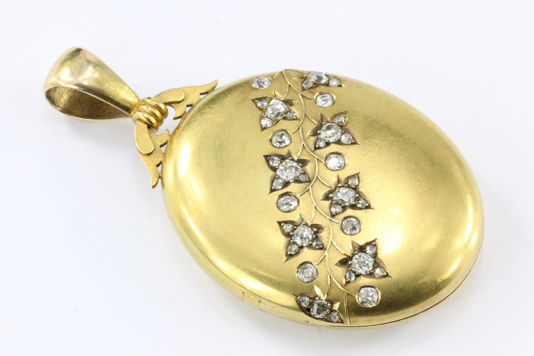 Rare Late Victorian 18K Yellow Gold Diamond Ivy Locket - Queen May