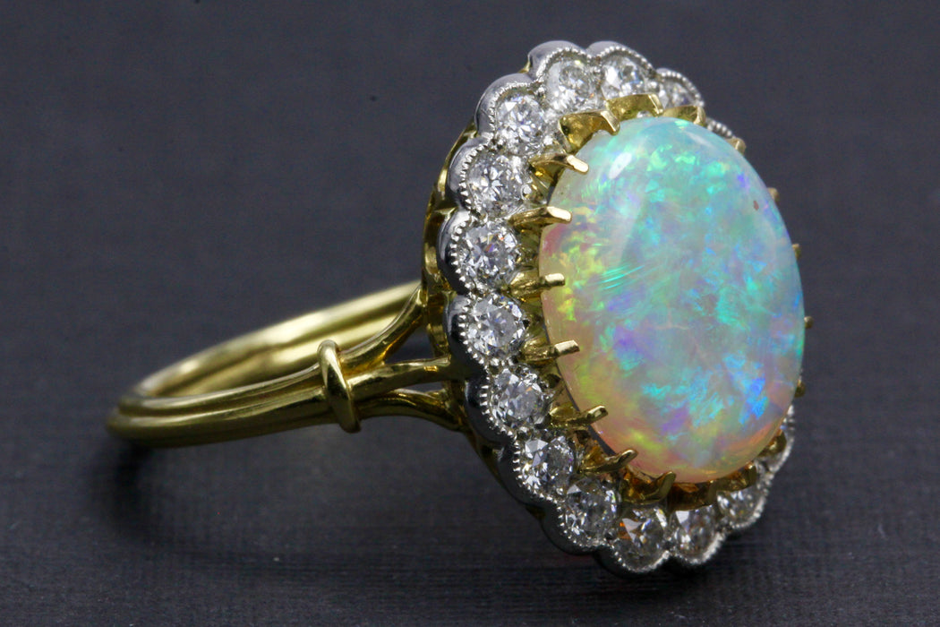 Victorian Revival 18K White Gold and Platinum Opal and Diamond Halo Ring - Queen May