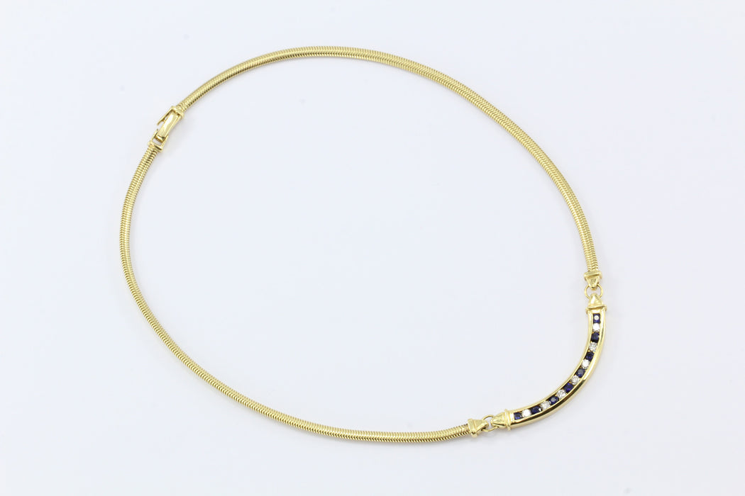 Tiffany & Co 18K Gold Diamond Sapphire Choker Necklace - Queen May