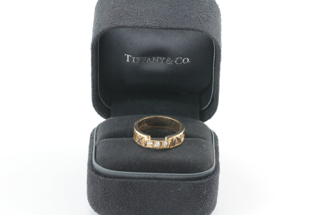 Tiffany & Co 18K Rose Gold Atlas Ring with Round Diamonds Size 6 - Queen May