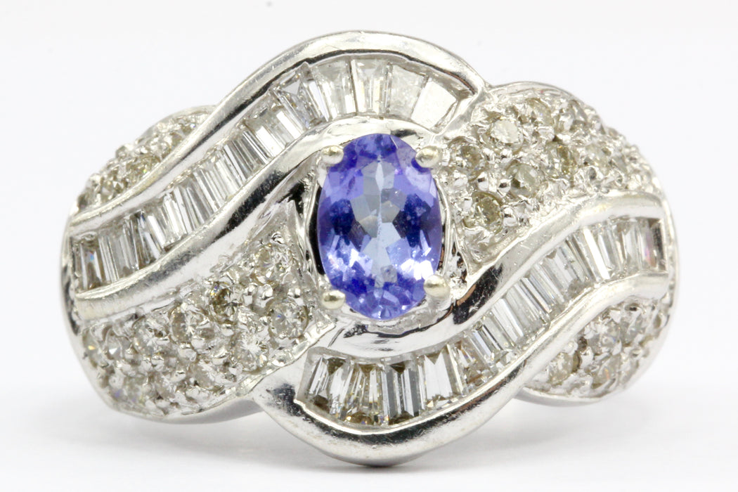 14K White Gold Tanzanite and Diamond Cocktail Ring Size 5.25