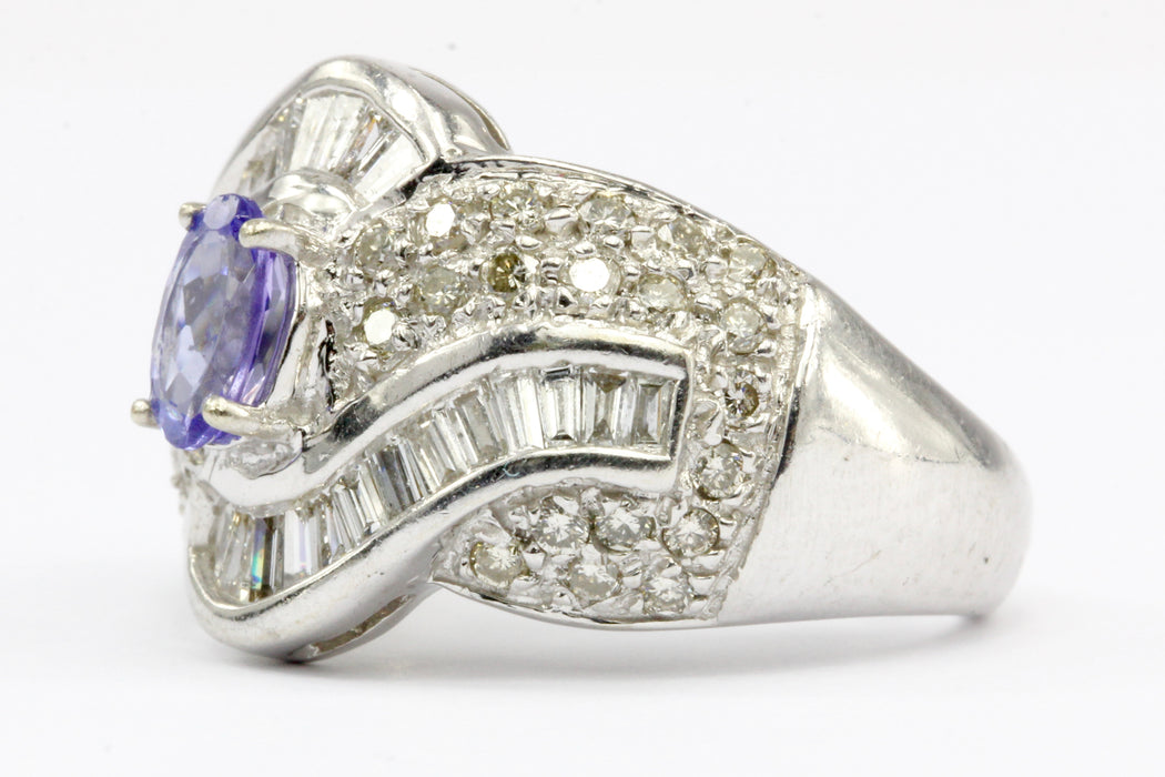 14K White Gold Tanzanite and Diamond Cocktail Ring Size 5.25 - Queen May