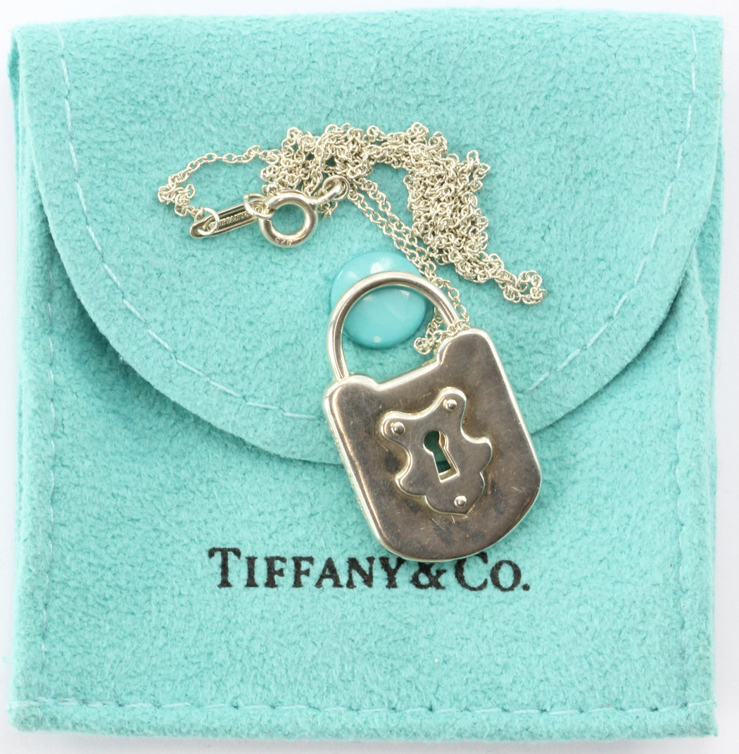 Tiffany & Co Sterling Silver Padlock Lock Charm Pendant Necklace - Queen May