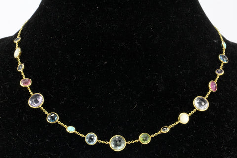 Ippolita Rock Candy Gelato Semi-Precious Multi-Stone 18K Yellow Gold Mini Station Necklace