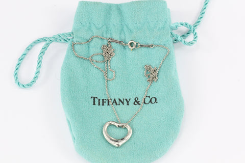 Tiffany & Co Platinum Elsa Peretti Open Heart Necklace 16""