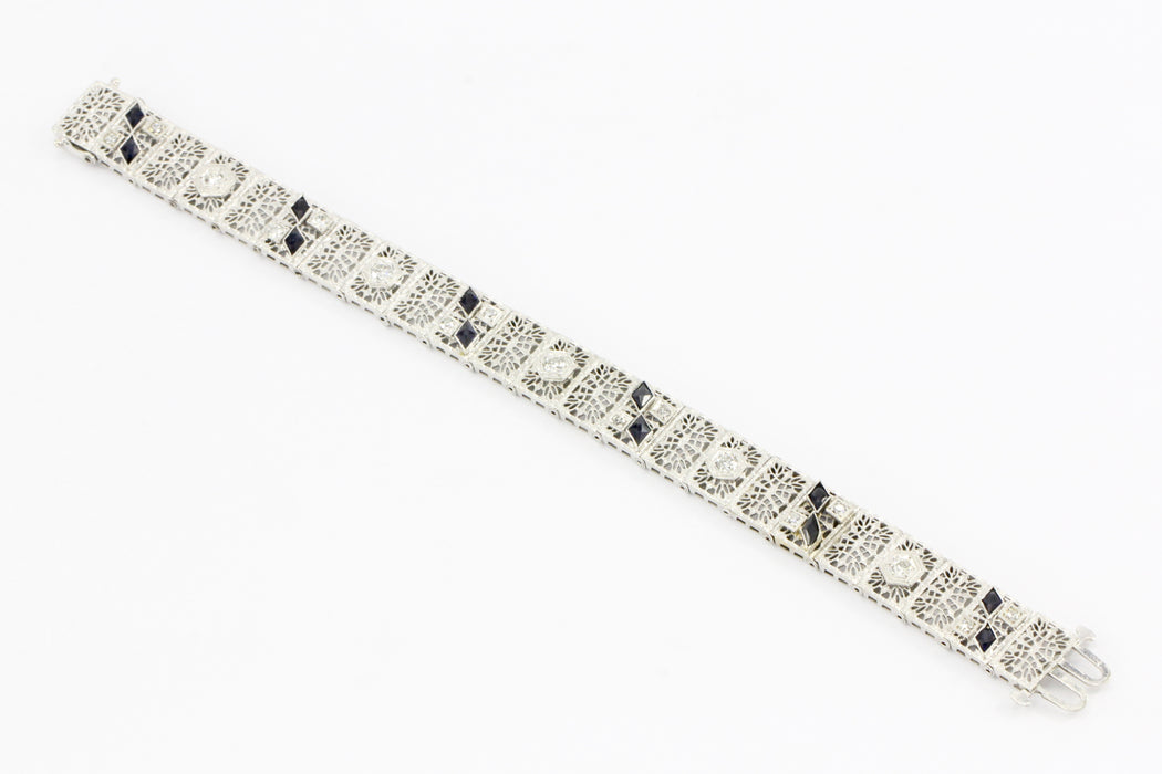 14K White Gold & Platinum Sapphire and .75 CTW Diamond Art Deco Filigree Bracelet - Queen May
