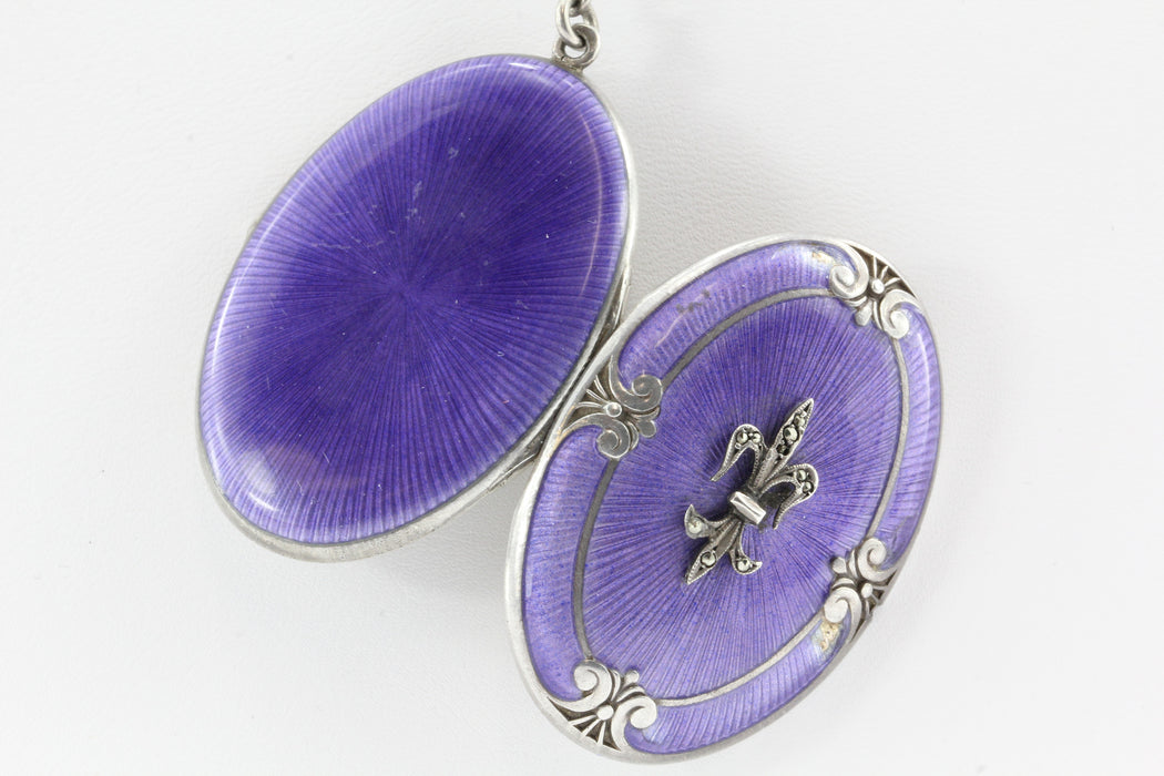 Victorian Sterling Silver Purple Enamel Fleur de Lis Locket w/ Necklace - Queen May
