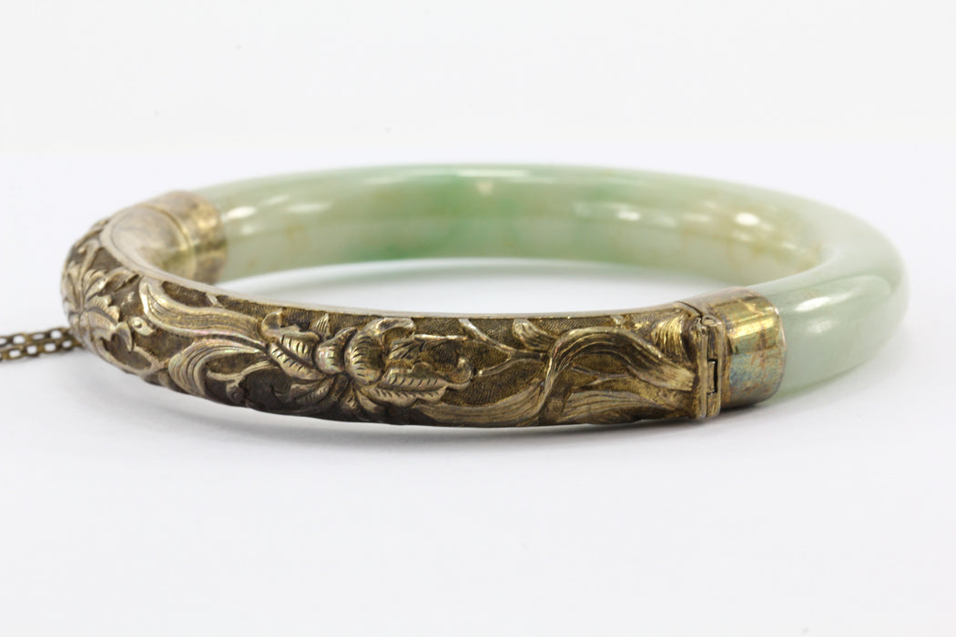 Chinese Export Sterling Silver Repousse Jadeite Jade Bangle Bracelet #1 - Queen May