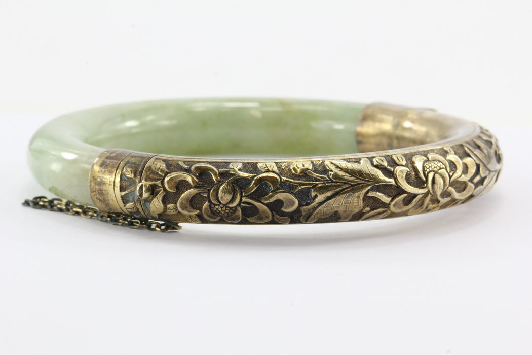 Art Deco Chinese Export Sterling Silver Repousse Jadeite Jade Bangle Bracelet #2 - Queen May