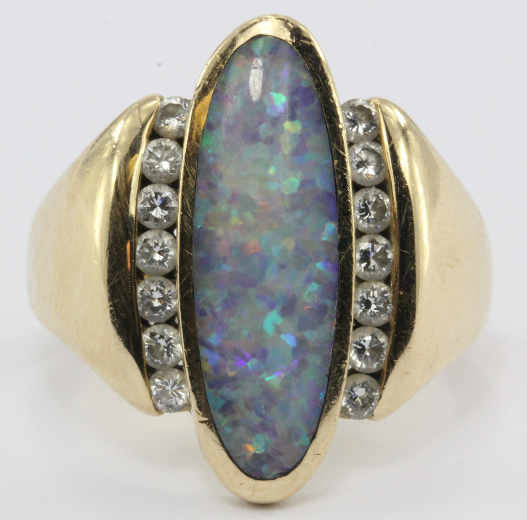 Vintage Kabana 14K Gold 1/2 Ctw Diamond & Opal Ring - Queen May