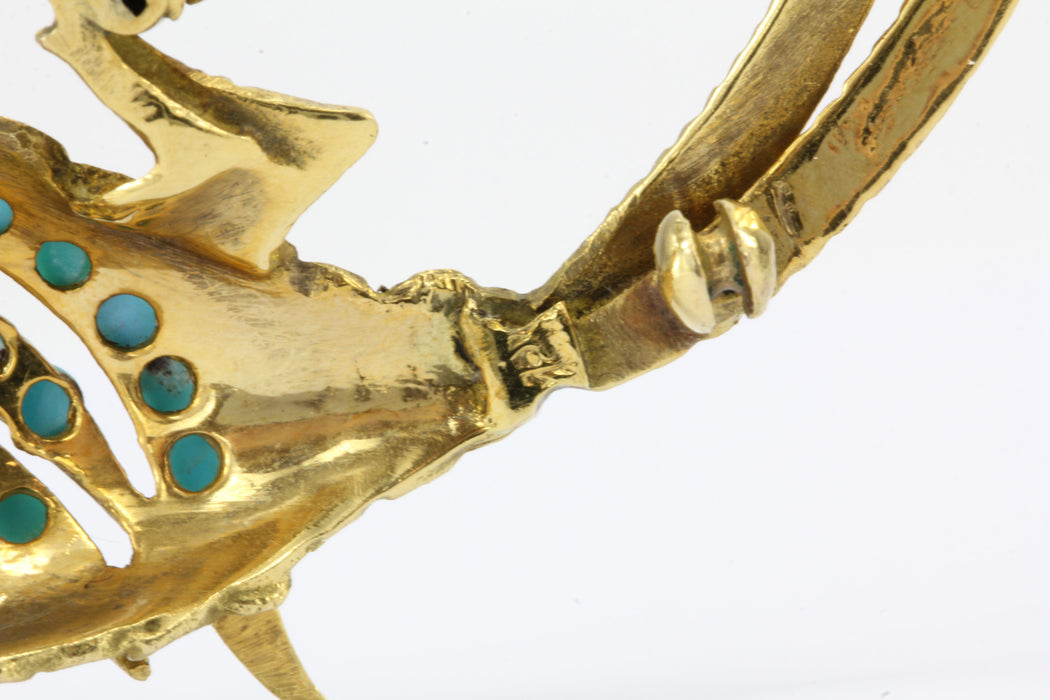 18K Yellow Gold Persian Turquoise Hoopoe bird Brooch / Pin