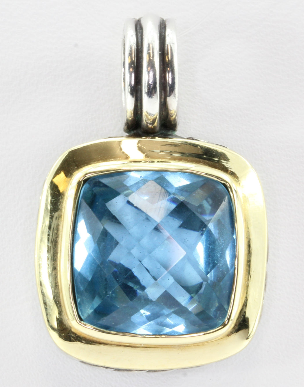 David Yurman Large Albion 18K Sterling Silver Blue Topaz Enhancer Pendant - Queen May