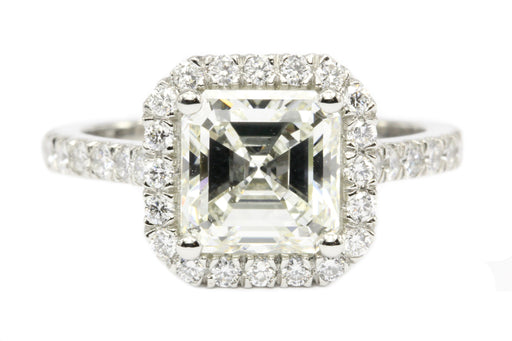 Platinum 2.3CT Asscher Cut Diamond Engagement Ring GIA Paperwork - Queen May