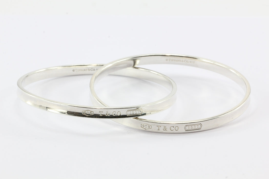 683744a02 ... Tiffany & Co Sterling Silver 1837 Interlocking Circles Bangle Bracelet  - Queen ...