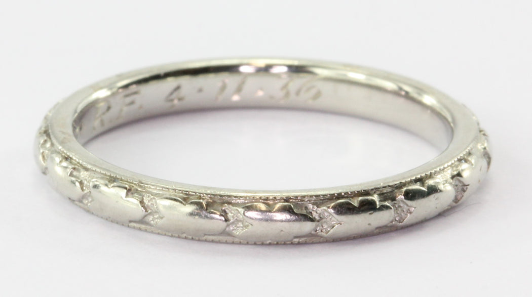 Art Deco 18K White Gold Band Ring by Orange Blossom C1936