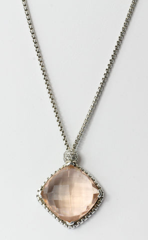 David Yurman Sterling Silver Morganite & Diamond Cushion on Point Necklace
