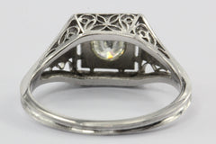 Antique Art Deco Platinum .40 Carat Transition Cut Diamond Engagement Ring