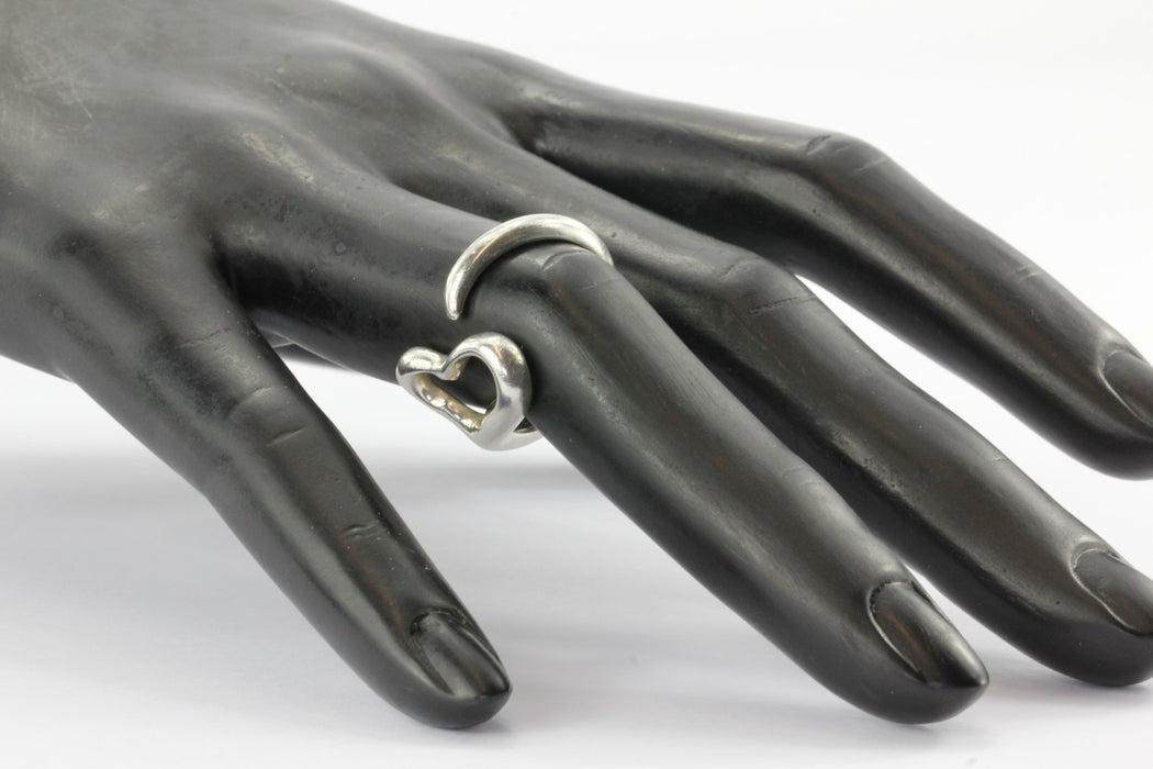 Tiffany & Co Sterling Silver Elsa Peretti Open Heart Ring Size 7.75 - Queen May