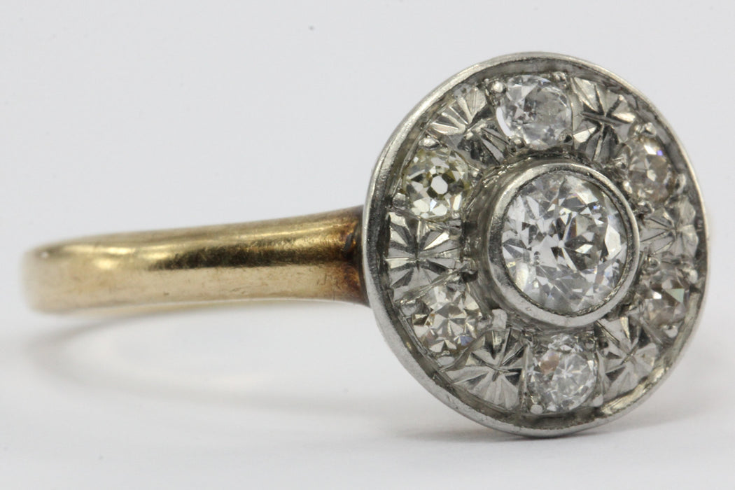 Antique Edwardian 14K Gold & Platinum Old European Diamond Engagement Ring - Queen May