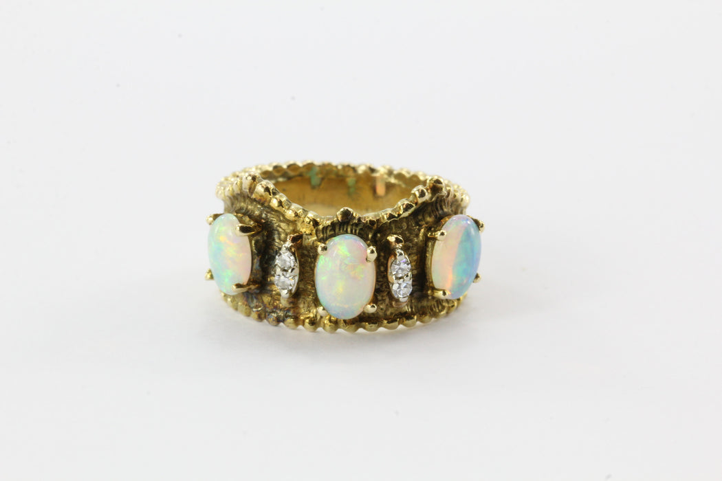14K Yellow Gold Opal Diamond Etruscan Crown Ring - Queen May