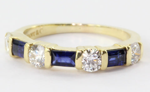 Tiffany & Co 18K Yellow Gold Diamond Sapphire Ring Band