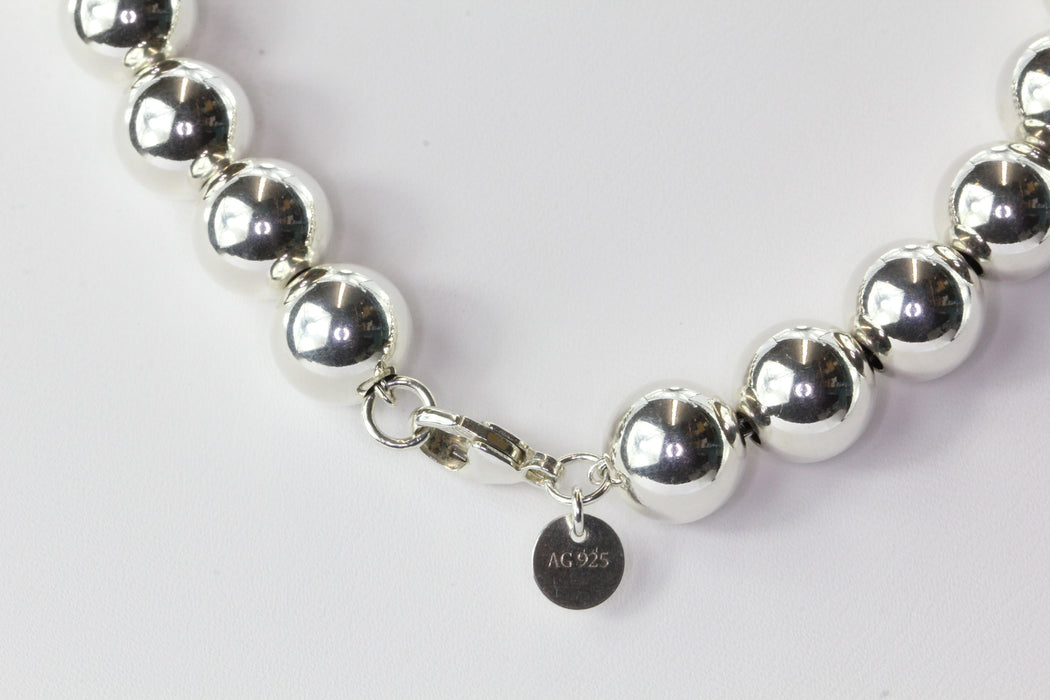 "Tiffany & Co Sterling Silver Ball Beaded Necklace 18"" - Queen May"