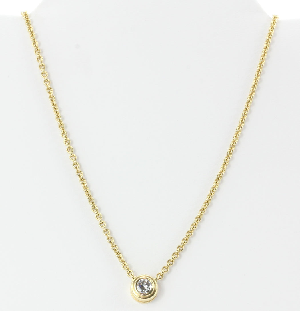 14k Yellow Gold .65 Carat Diamond Solitare Pendant Necklace - Queen May