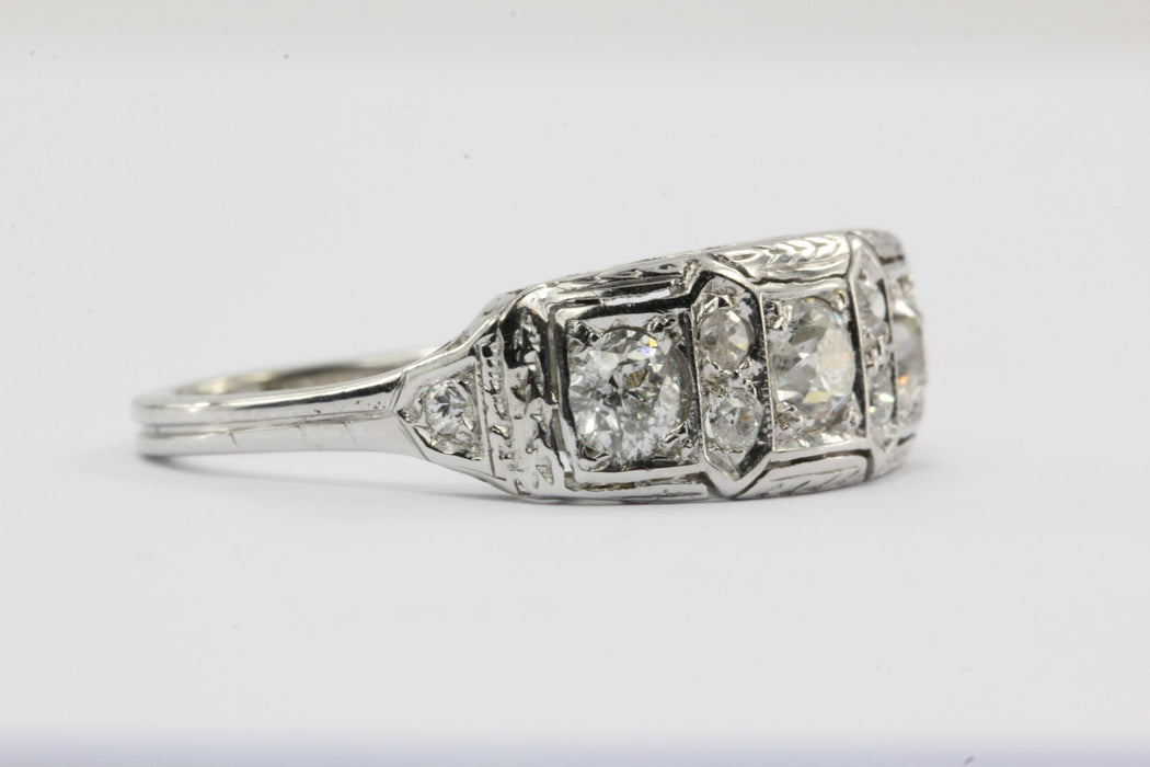 Antique Art Deco 18K White Gold & Old European Diamond Engagement Ring - Queen May