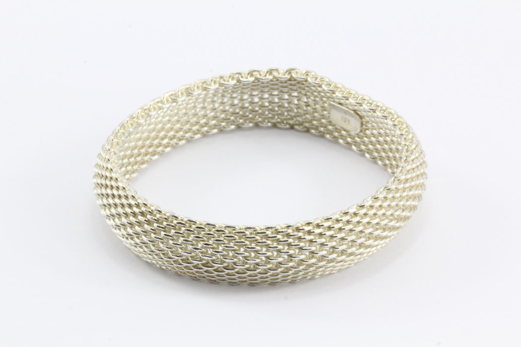 5be3b82f1 ... Tiffany & Co Sterling Silver Somerset Mesh Bracelet Bangle - Queen ...