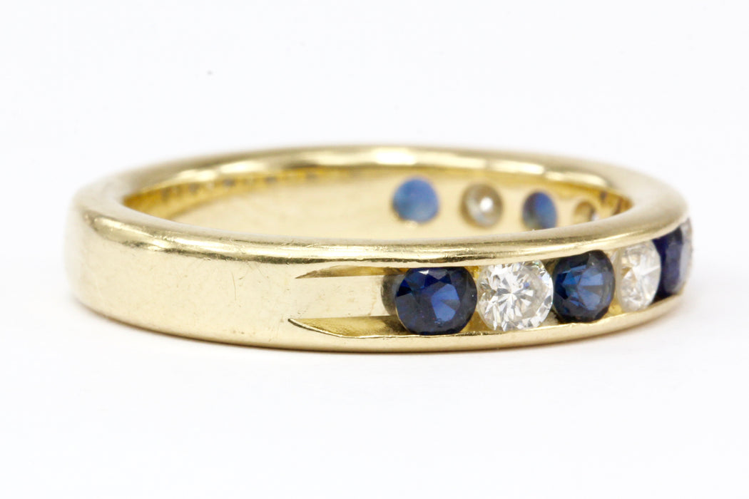14K Yellow Gold Diamond and Sapphire Half Eternity Band Size 7