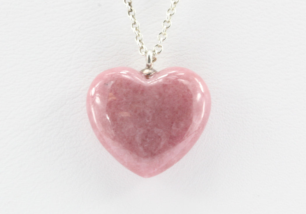 Tiffany Co Sterling Silver Pink Rhodonite Heart Necklace Queen May