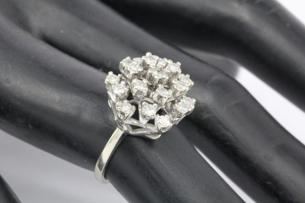 14K White Gold 1 CTW Diamond Cluster Ring Size 5.5 - Queen May
