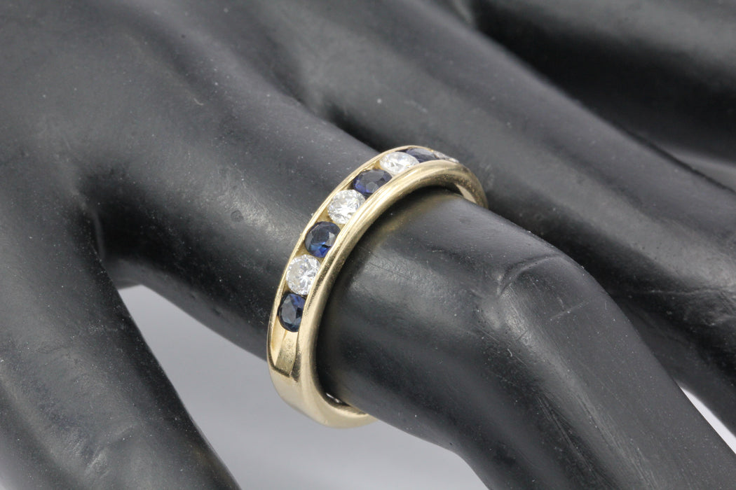 14K Yellow Gold Diamond and Sapphire Half Eternity Band Size 7 - Queen May
