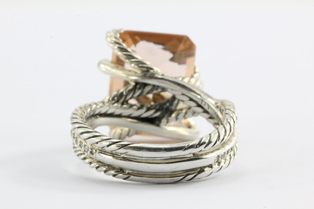 David Yurman Sterling Silver Morganite Diamond Cable Wrap Around Ring - Queen May