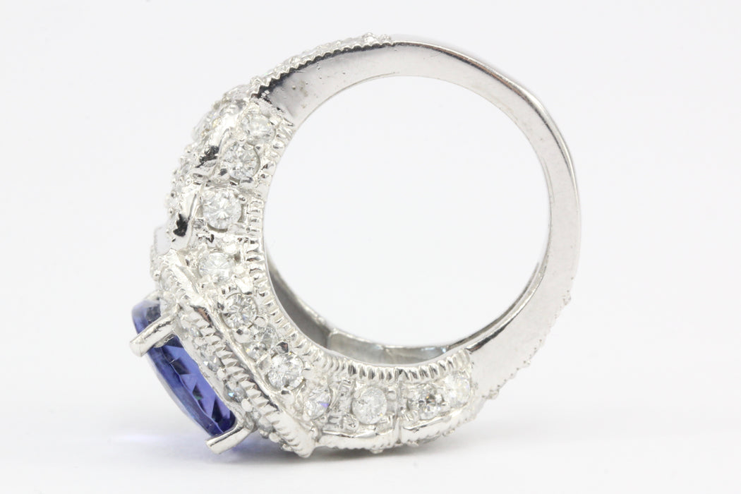 14K White Gold 5 Carat Tanzanite and 2.5 CTW Diamond Ring