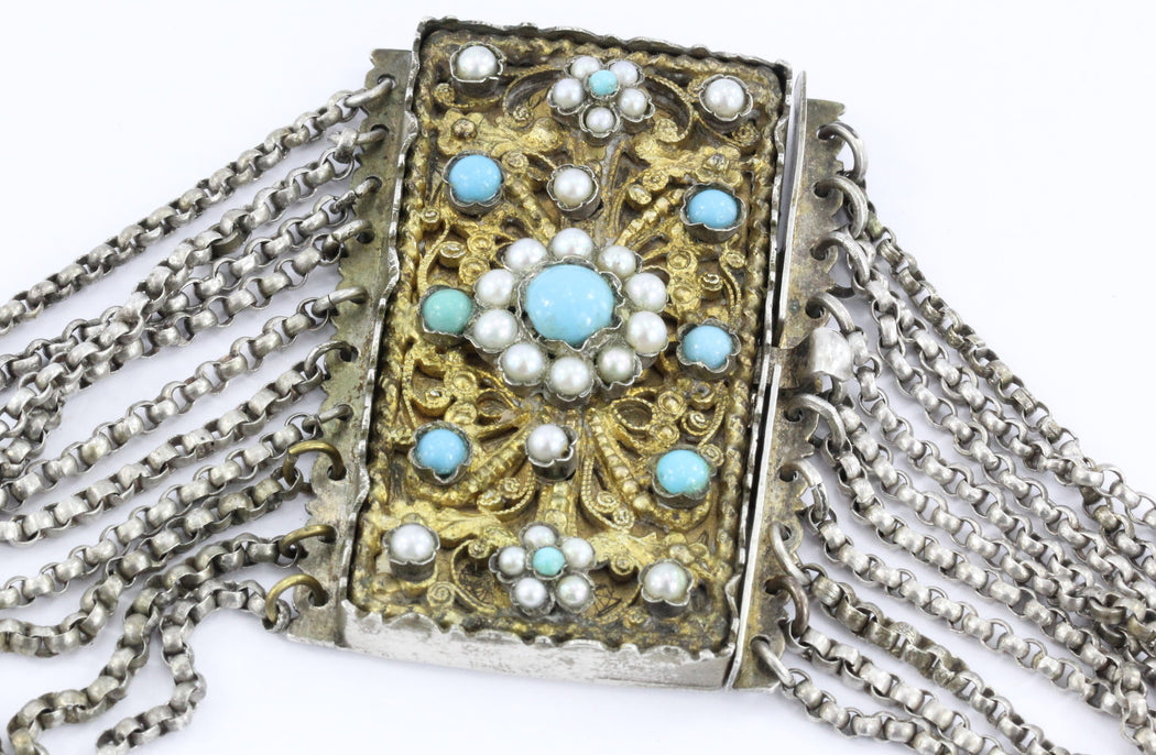 Antique 1840's Austrian Hungarian Silver Turquoise & Pearl Chunky Gilt Necklace - Queen May