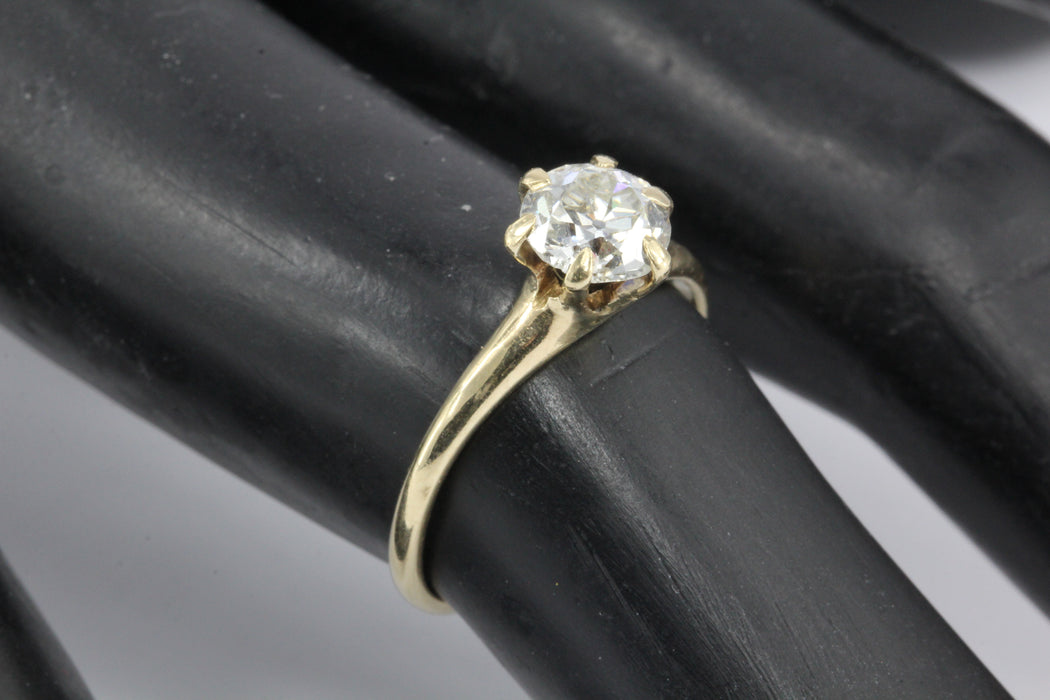 Victorian 14K Yellow Gold .92 Carat Diamond Solitaire Engagement Ring Size 5.75 - Queen May