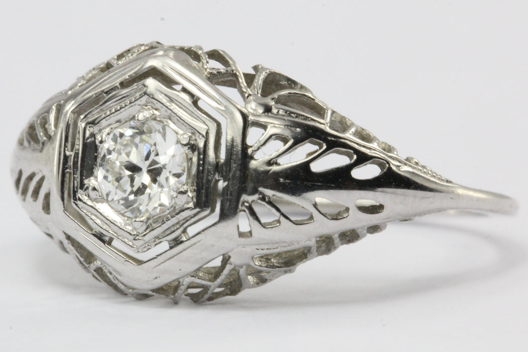 Antique Art Deco 18K White Gold Old European Cut Diamond Engagement Ring - Queen May
