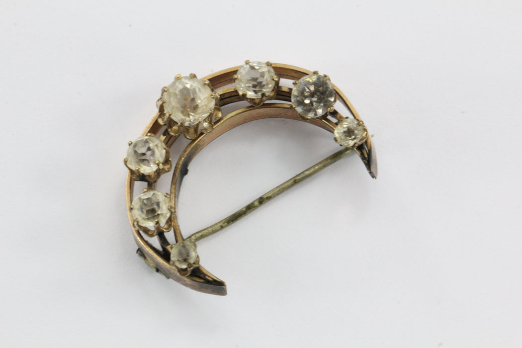 Antique Victorian Pinchbeck & Foil Back Paste Crecent Moon Brooch Pin - Queen May