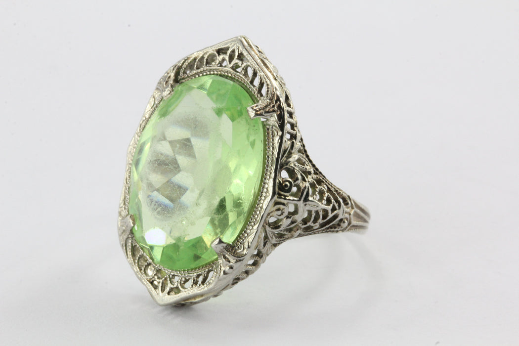 Antique 10K White Gold Green Stone Edwardian Chunky Ring — Queen May