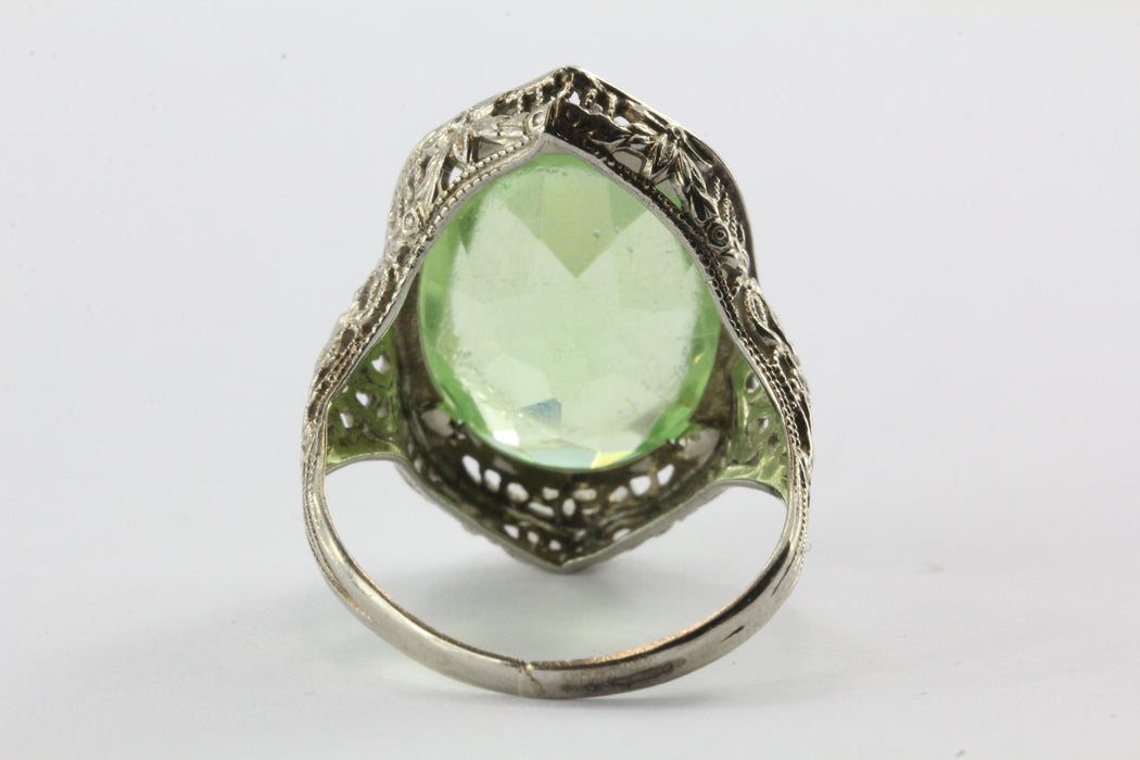 Antique 10K White Gold Green Stone Edwardian Chunky Ring - Queen May