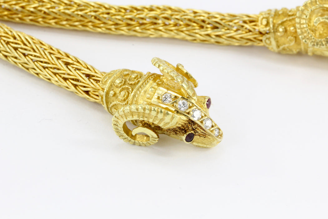 Ilias Lalaounis 18K Yellow Gold Diamond Ruby Hercules Knot Necklace - Queen May