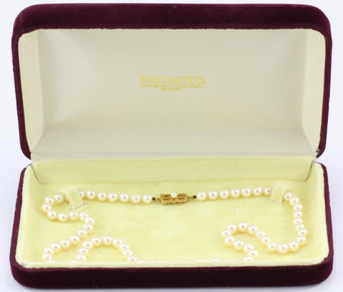 Mikimoto 18K Gold 6.3mm Princess Length Pearl Strand Necklace