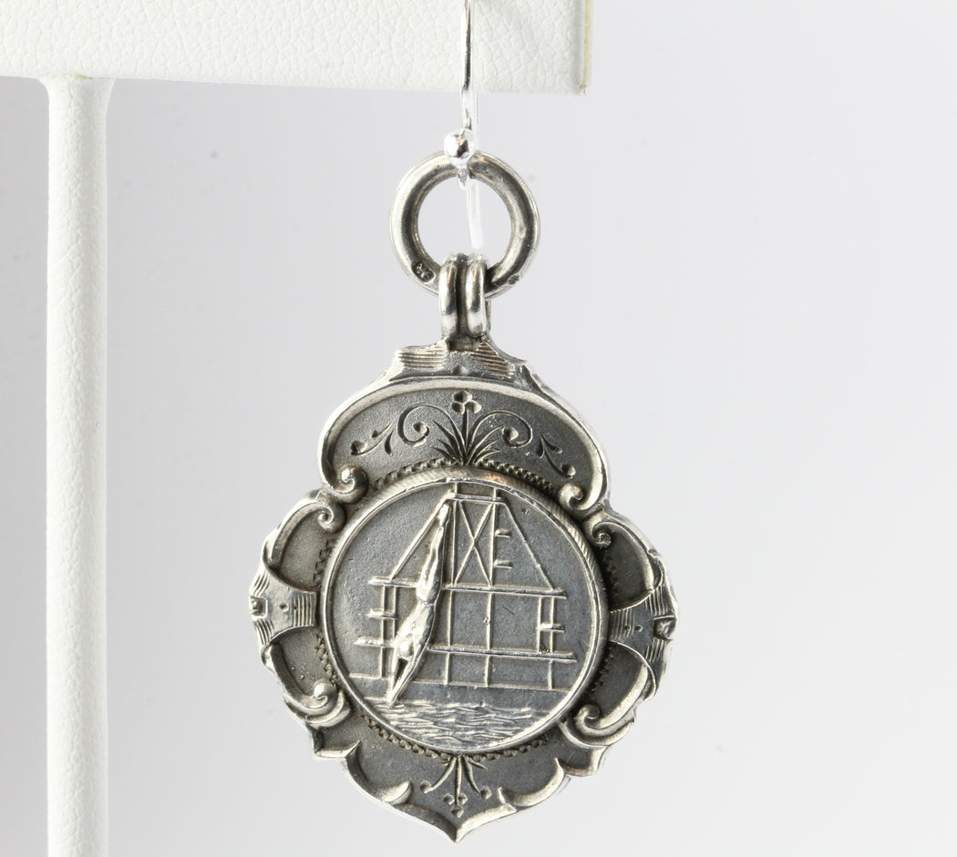 Antique 1929 English Sterling Silver Diving Swimming Medals Earrings Colwyn Bay - Queen May
