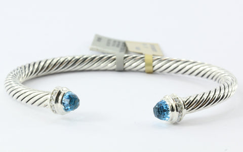 David Yurman Sterling Silver Blue Topaz Diamond 5mm Cable Cuff NWT