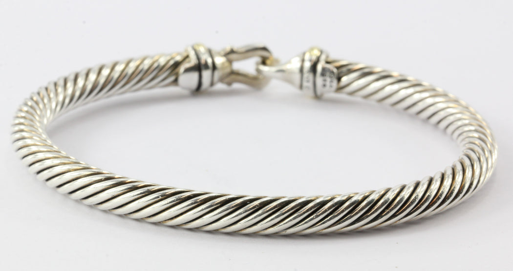 David Yurman Sterling Silver 18K Gold 5mm Cable Classic Buckle Bangle Bracelet - Queen May