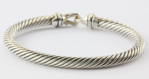 David Yurman Sterling Silver 18K Gold 5mm Cable Classic Buckle Bangle Bracelet
