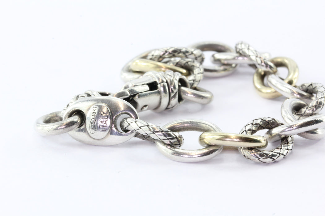 Alisa Sterling Silver 18K Gold Textured Link Bracelet - Queen May