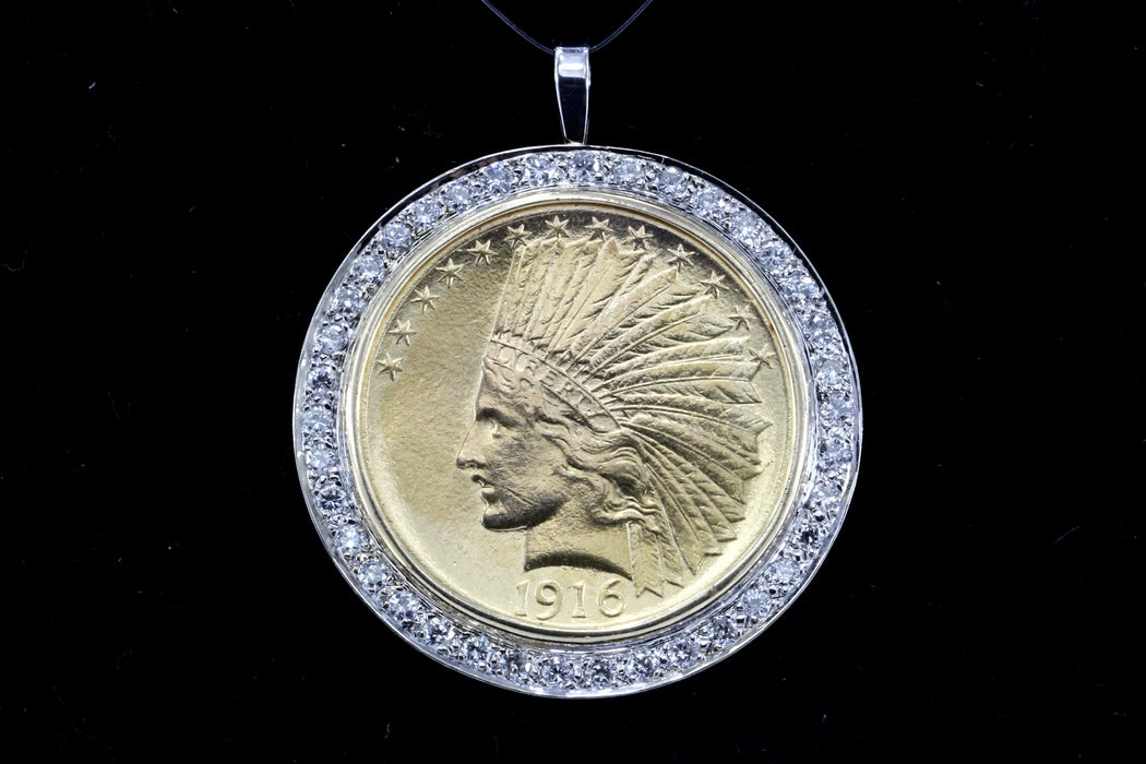 1916 Ten Dollar Gold Indian Head Coin Custom 14k White